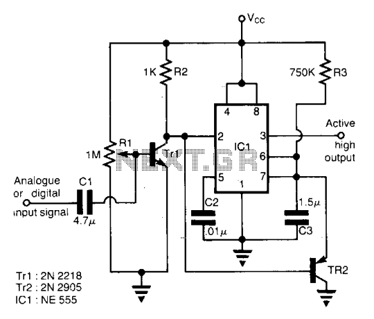 Speech activity detector for telephone lines  - schematic