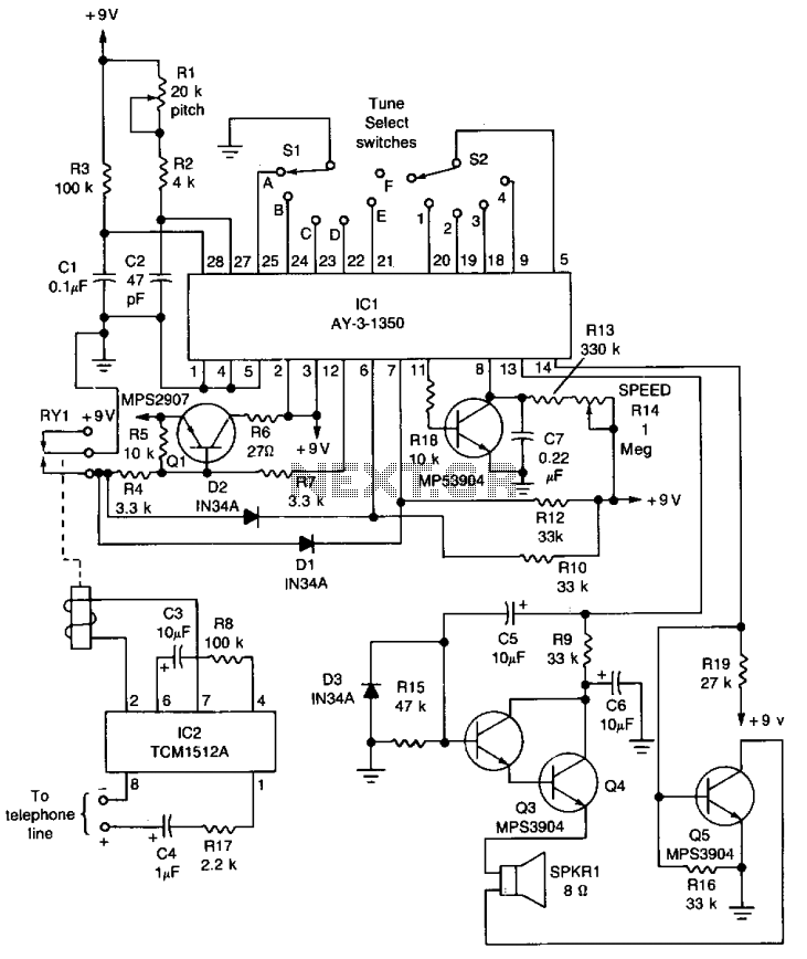 Musical telephone ringer  - schematic