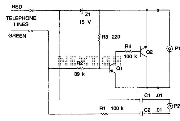 Automatic telephone recording circuit - schematic