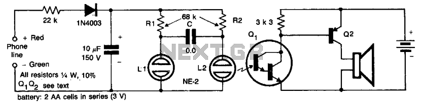 High isolation telephone ringer  - schematic