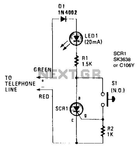 Telephone hold button  - schematic