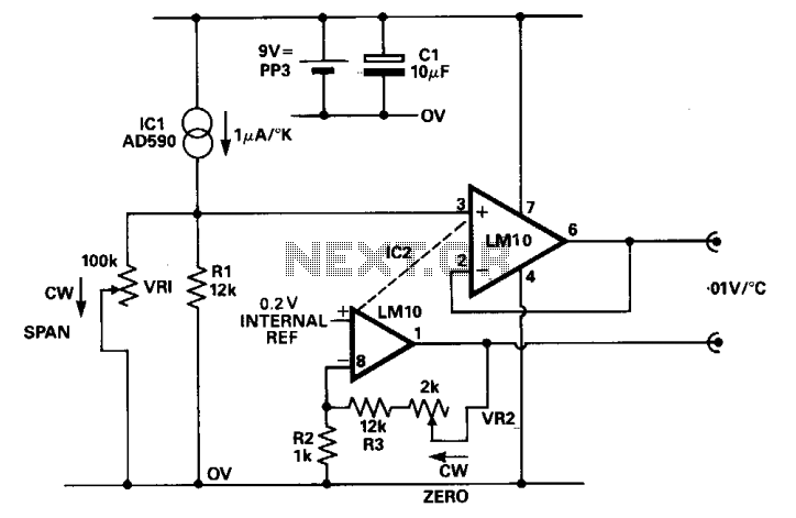 Temperature sensor and DVM interface  - schematic