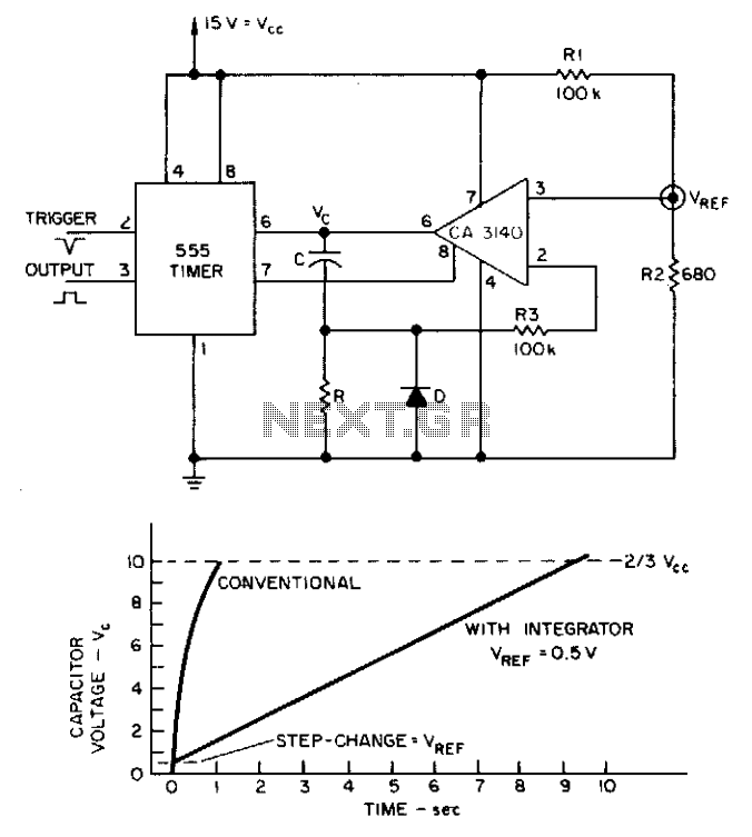Integrator multiplies 555 delay  - schematic