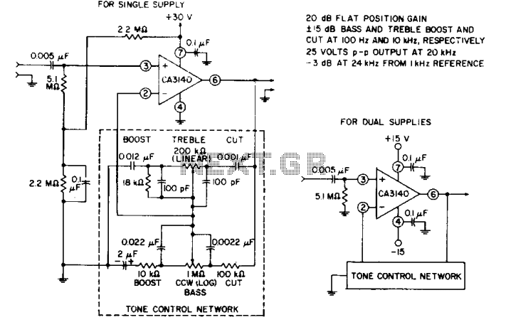 Tone-control audio amplifier