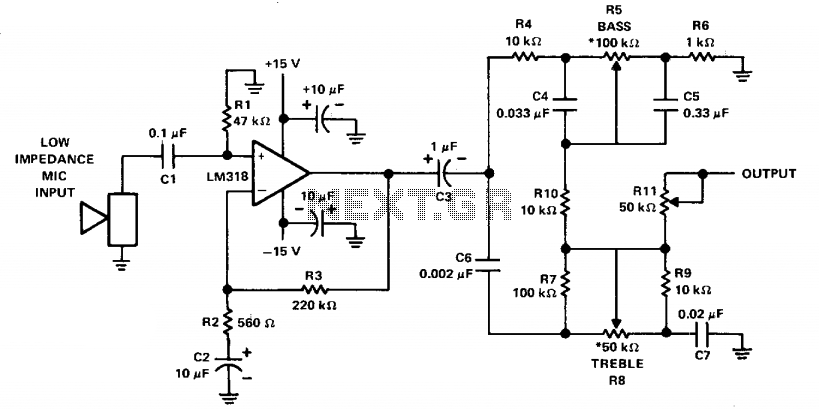 Mike preamp with tone control  - schematic