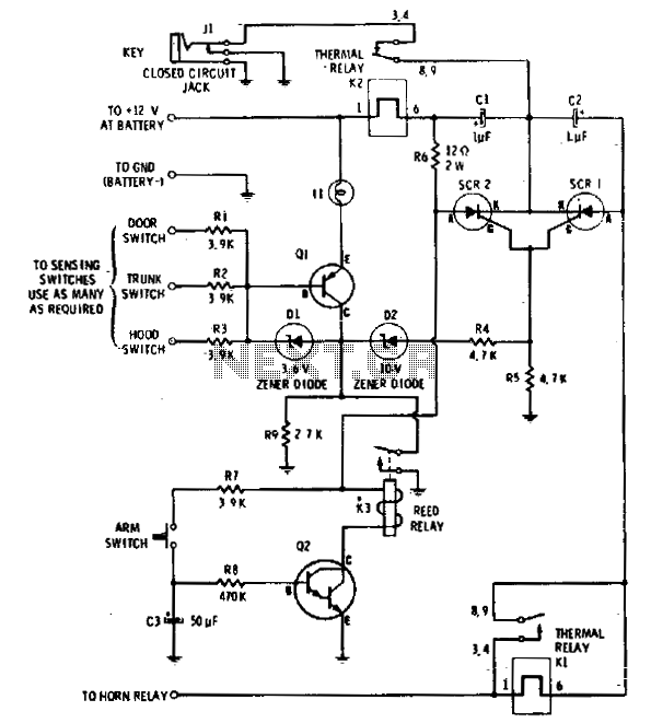 Self-arming alarm - schematic