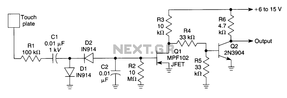 Touch Switch with MPF102 JFET - schematic