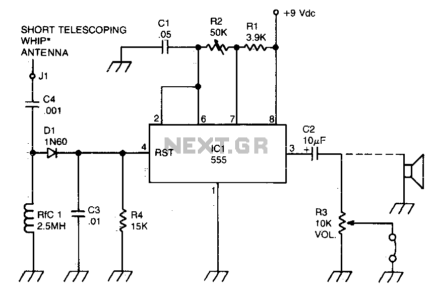 RF-powered sidetone oscillator - schematic