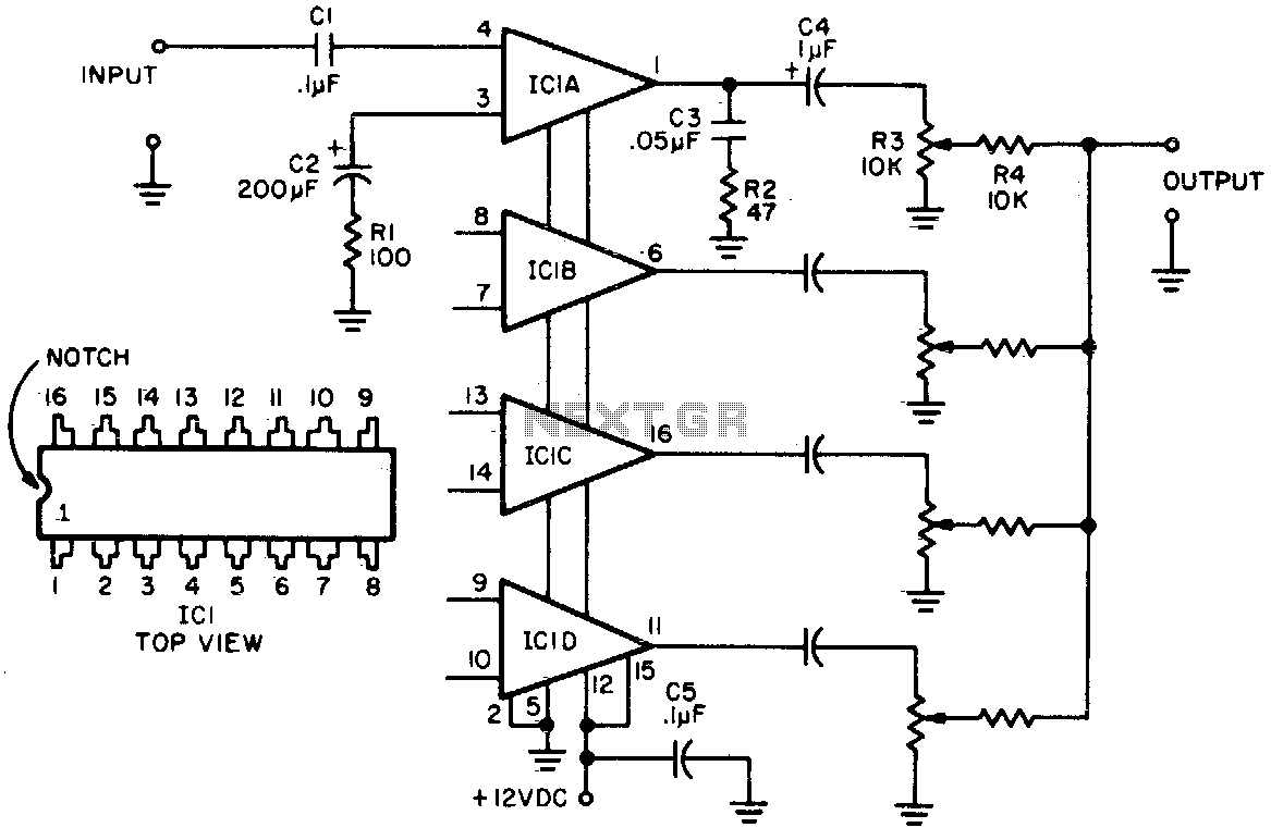 Audio Mixer Circuit Circuits Operational Amplifiers Summing Amplifier High Level Four Channel