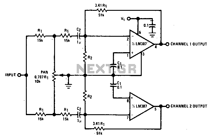 Two channel panning circuit - schematic