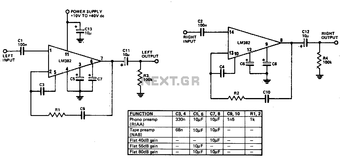 General purpose preamplifier - schematic
