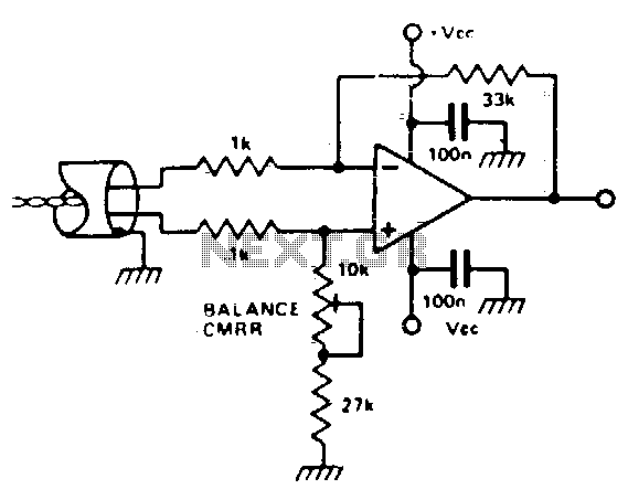 Electronic balanced input microphone amplifier - schematic