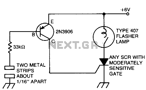 Capacitance switched light - schematic