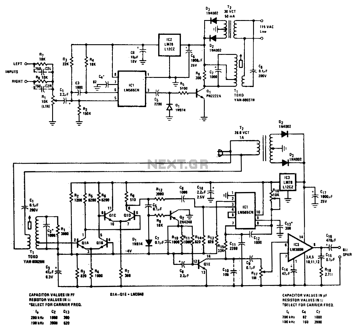 FM carrier current remote speaker system - schematic