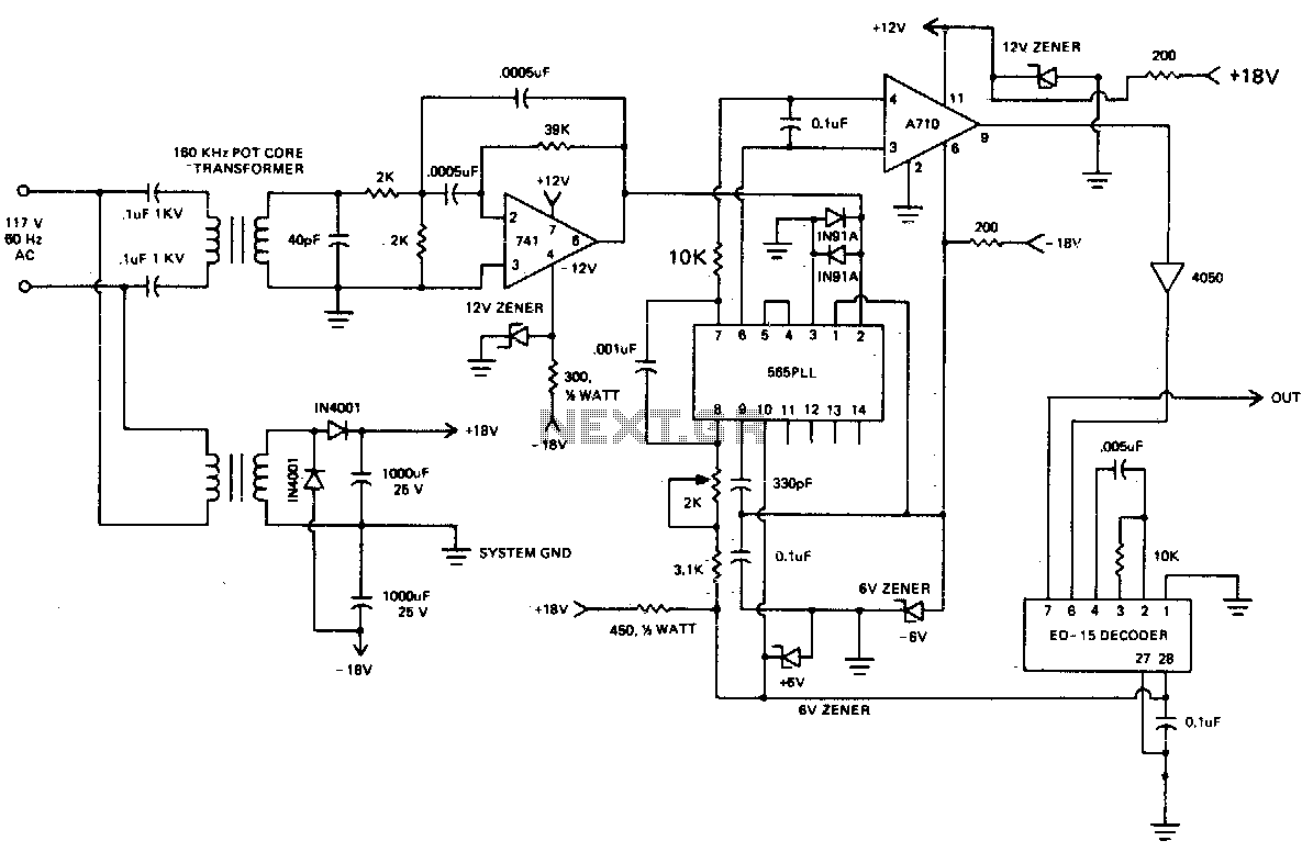 Carrier current receiver - schematic