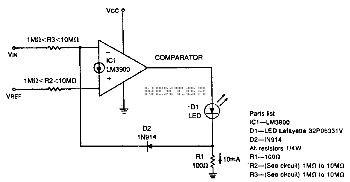 Diode feedback comparator - schematic