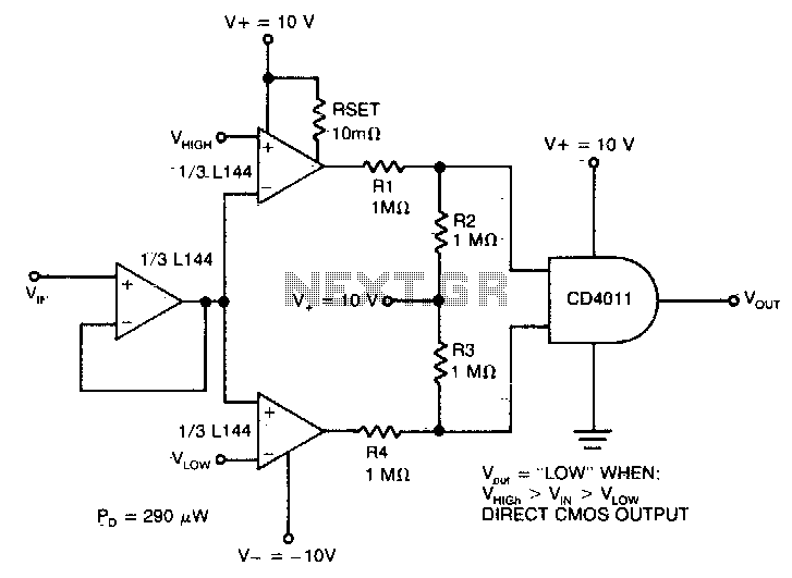 Micropower double ended limit detector - schematic