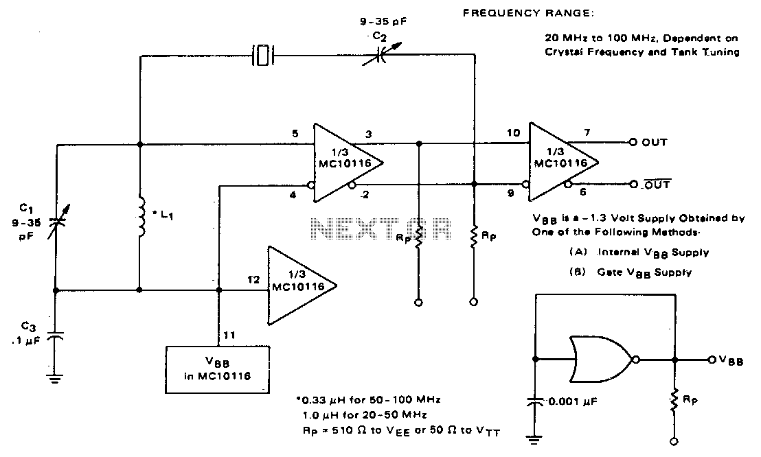 Overtone crystal oscillator - schematic
