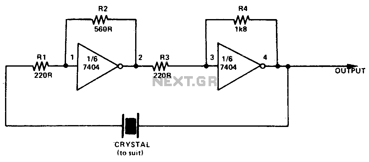 Simple ttl crystal oscillator - schematic