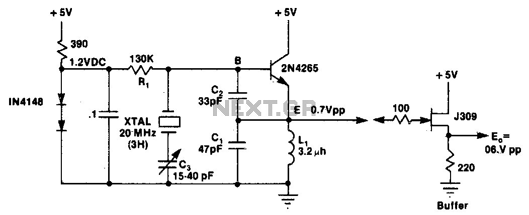 Colpitts harmonic oscillator 100Mhz - schematic