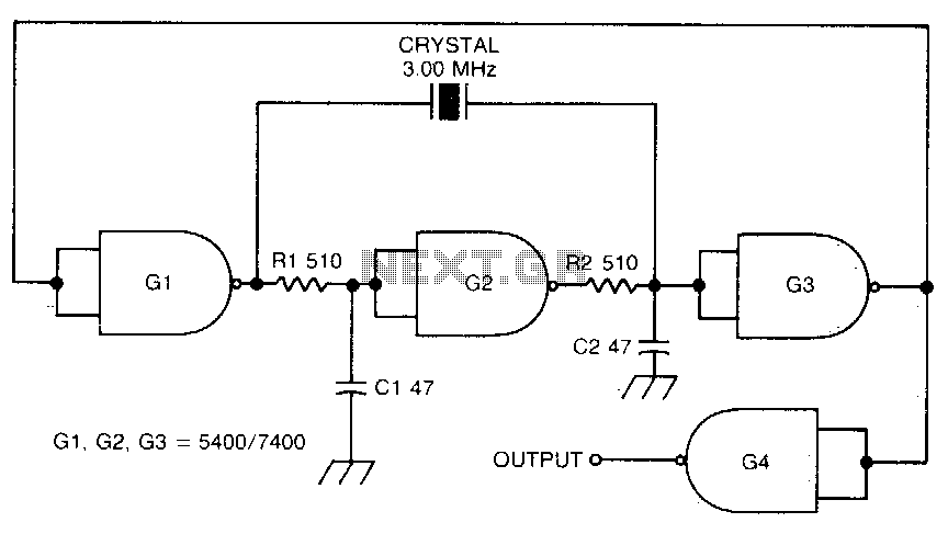 Crystal-controlled oscillator - schematic