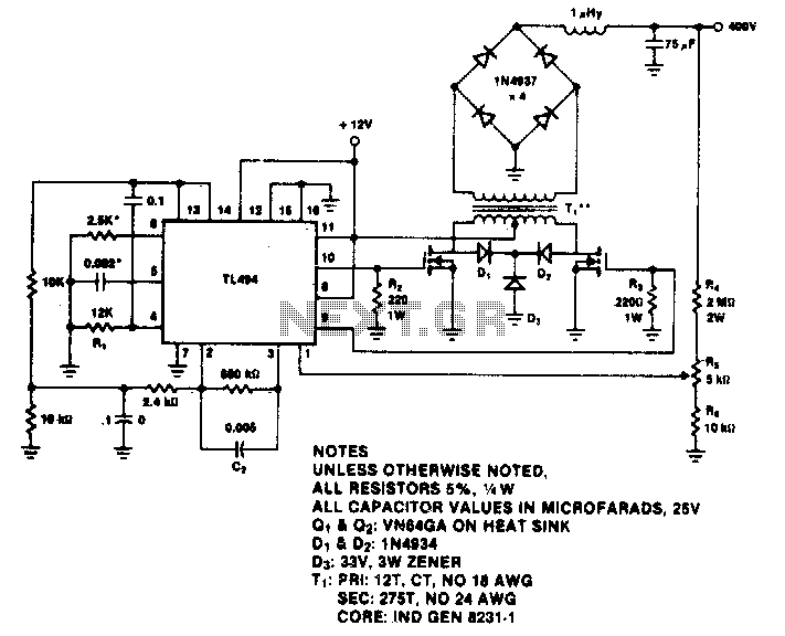 400V-60W push-pull DC-DC converter - schematic