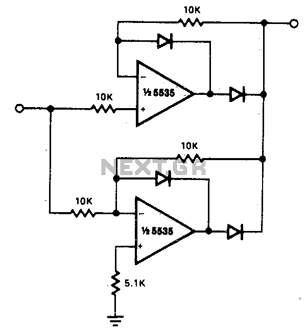 Precision full wave rectifier - schematic