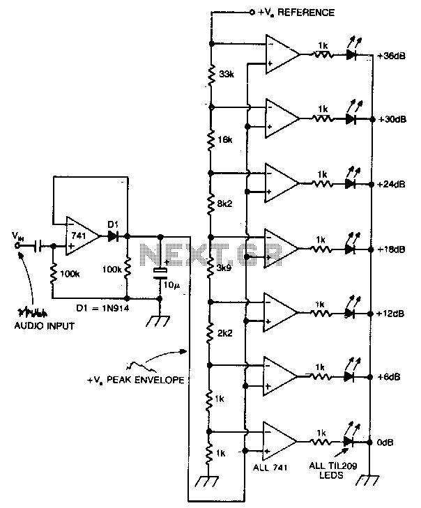 LED bar peak program meter display for audio - schematic