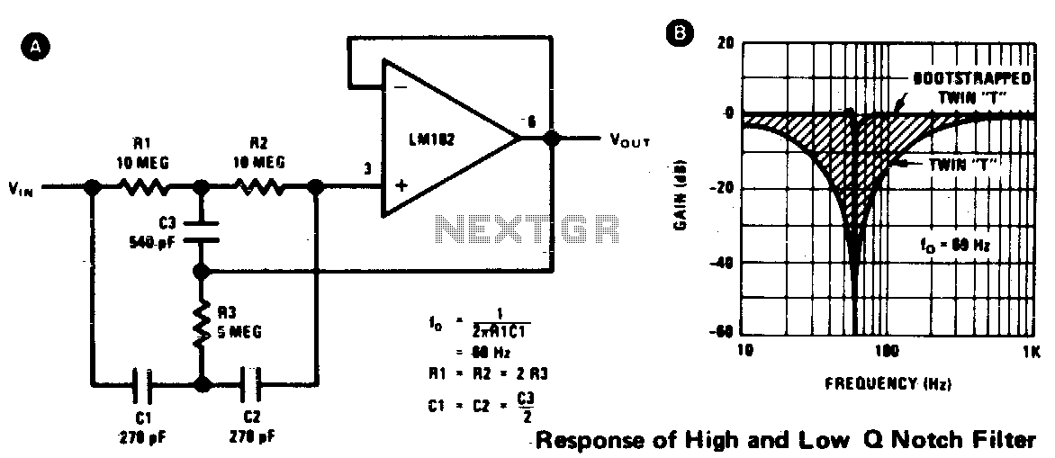 High q notch filter - schematic