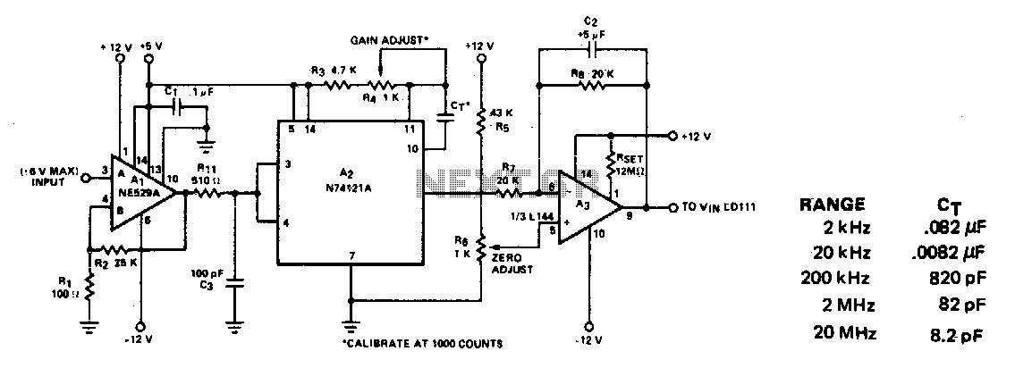 Frequency-to-volt age converter - schematic