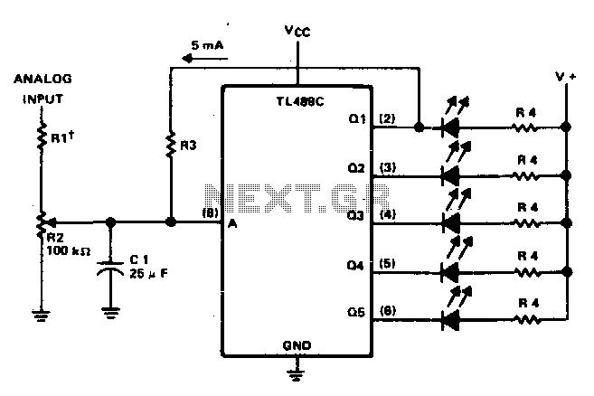 Five-step voltage-level indicator - schematic