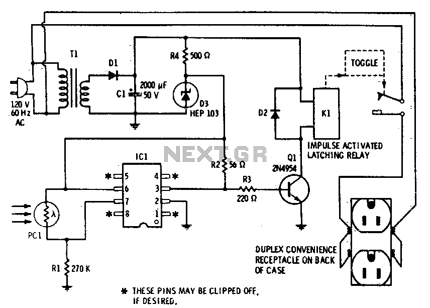 Photocell memory switch for AC power control