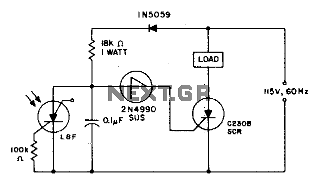 Light interruption detector - schematic