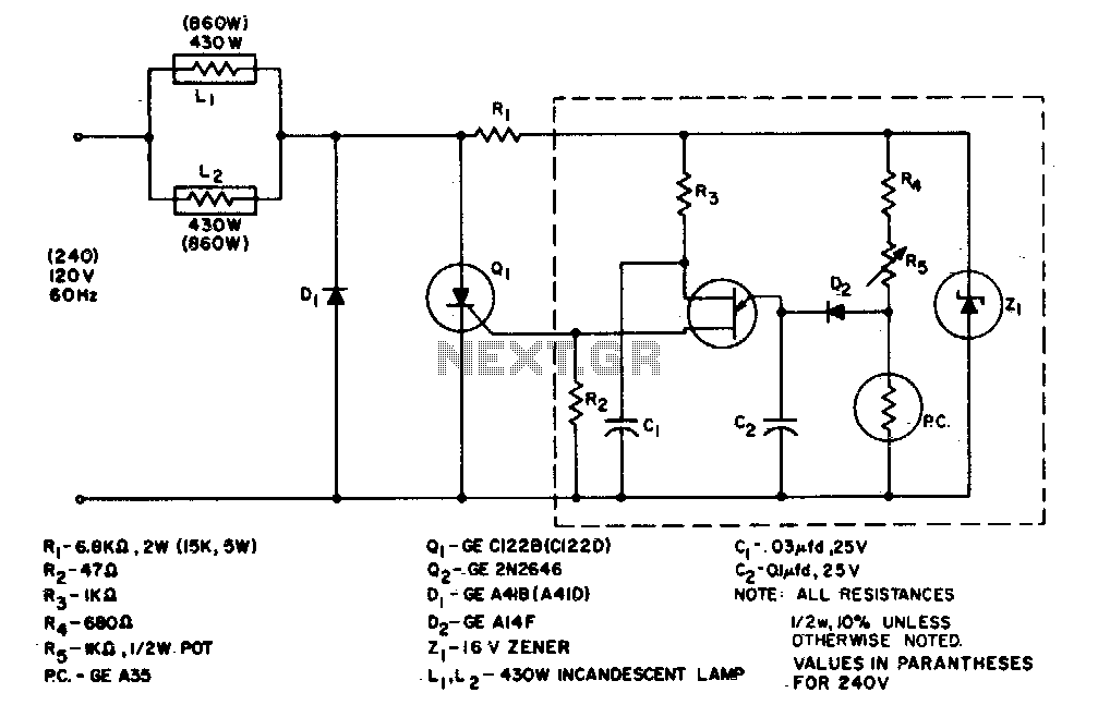 860 Watt limited-range light control - schematic