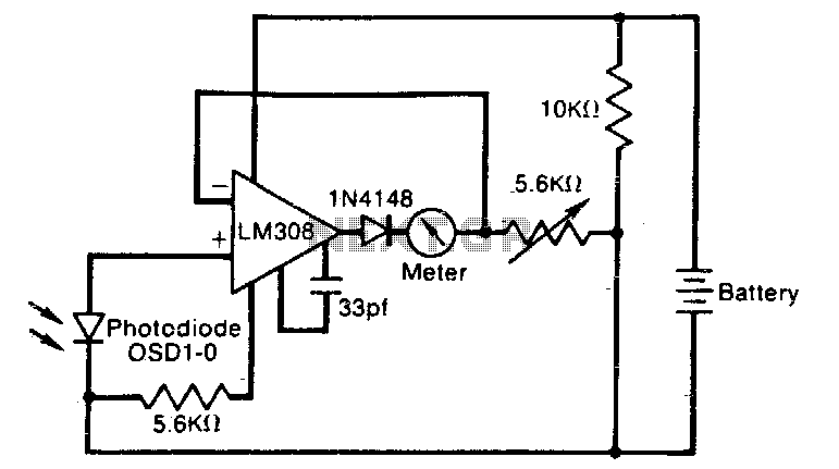 Logarithmic light-meter circuit - schematic