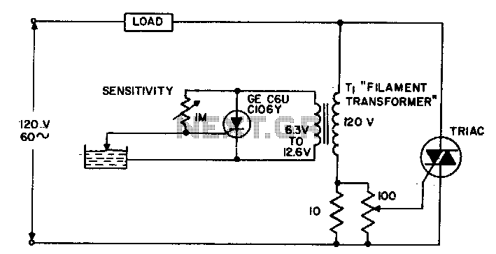 Water-level sensing control circuit - schematic