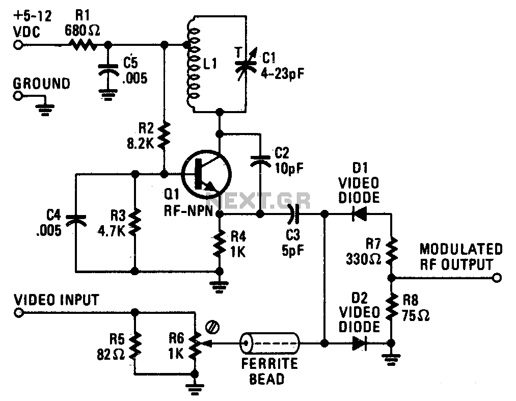 Video Modulator Circuit Circuits Pulse Width Position Can Be Easily Tv The Vhf Frequency Is Generated By A Tuned Hartley Oscillator Resistors R2 R3 And R4 Bias Transistor With Tapped Inductor Li