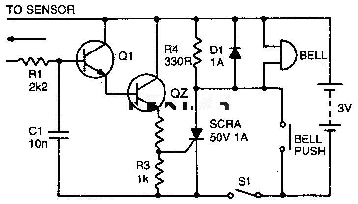 rain alarm-door bell under liquid sensing circuits