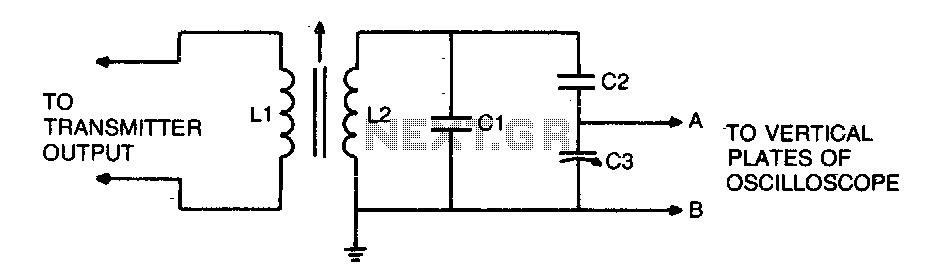 Transmitter-oscilloscope coupler for CB signals - schematic