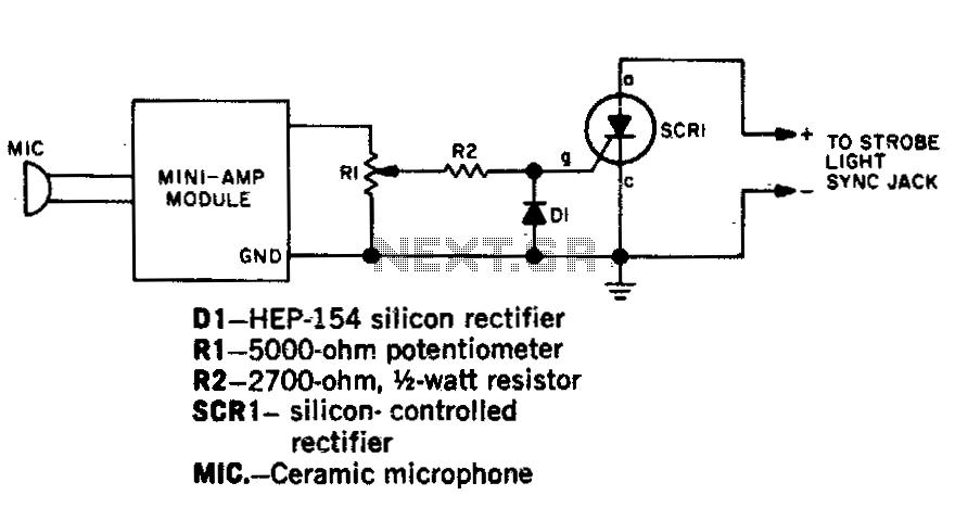 Sound activated strobe trip - schematic
