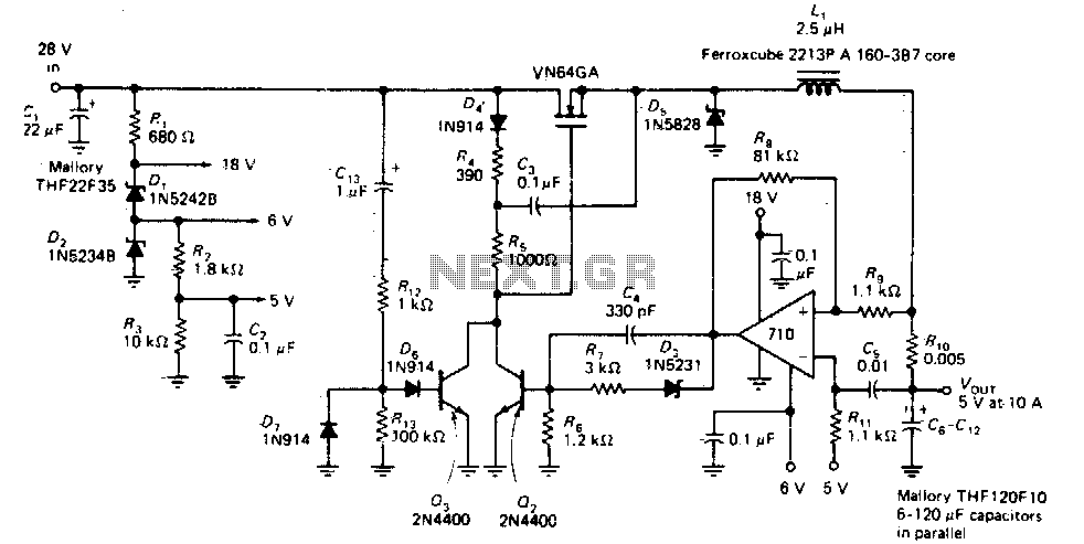 Switching regulator operating at 200Khz - schematic