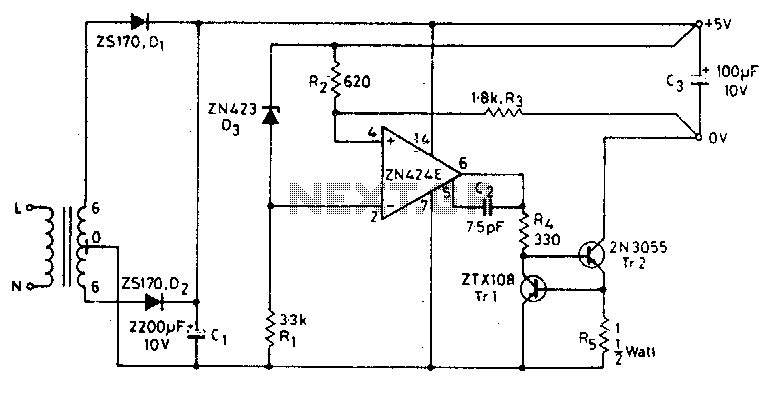 5V 0.5A power supply - schematic