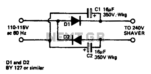 Travellers shaver adapter - schematic