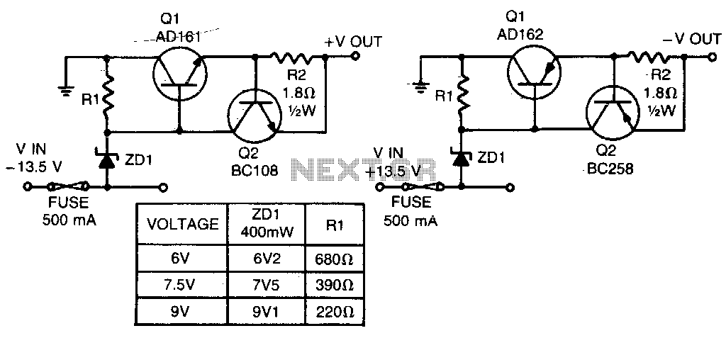 Low voltage regulators - schematic