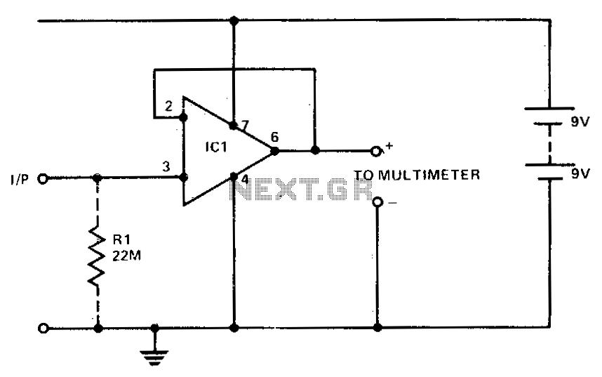 100K megohm DC probe - schematic