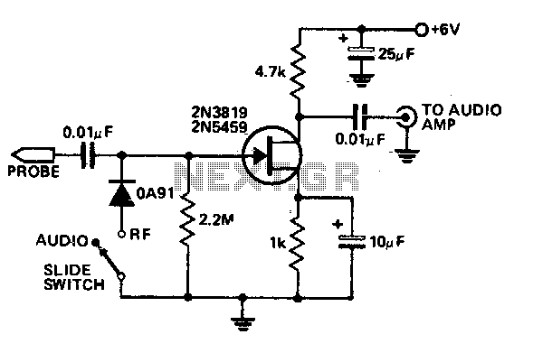 Audio-rf signal tracer probe - schematic