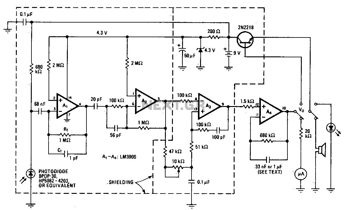 Wideband radiation monitor - schematic