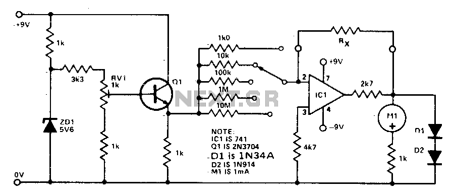 ohmmeter  ohmmeter circuit diagram