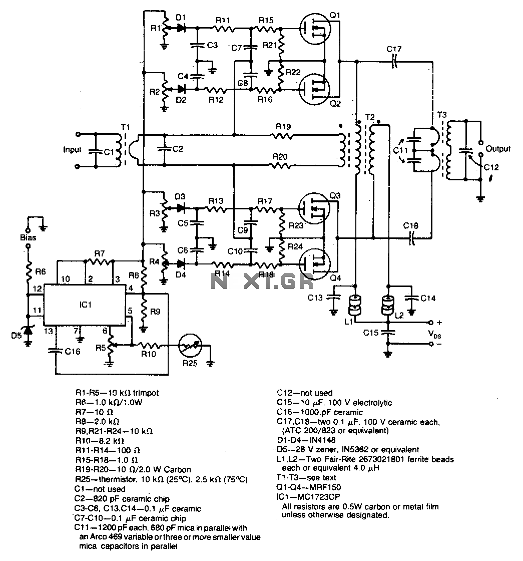 Rf Amplifier Circuit Circuits 1000 Watt Power Amp Diagram 600w