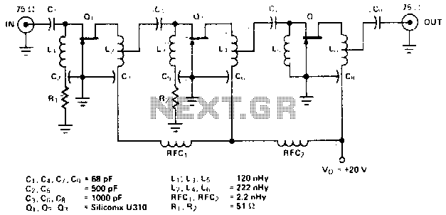 Wideband uhf amplifier with high-performance fets - schematic